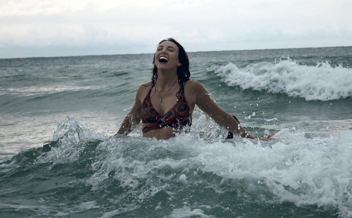 lady in ocean