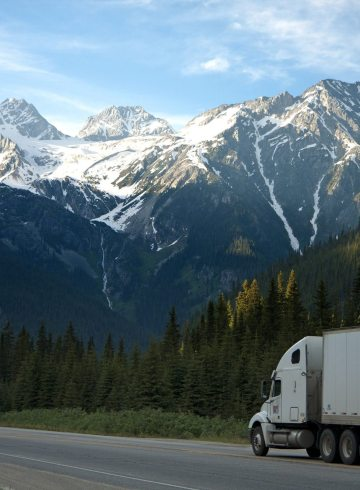 dump truck in mountains