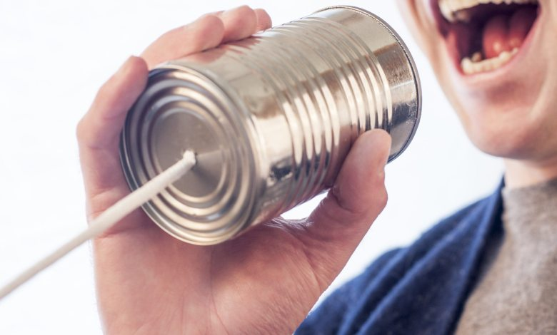 talking into can