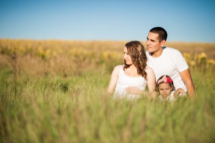 man, woman, child, field
