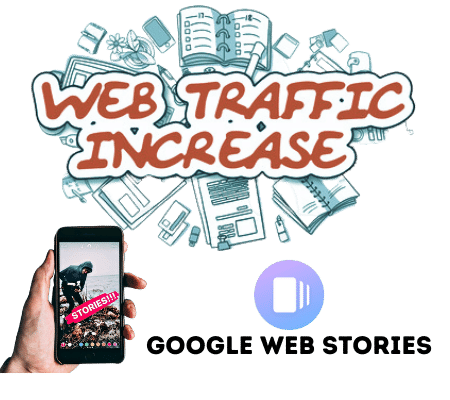 Web Traffic increase using Google web stories as mobile in hand is showing