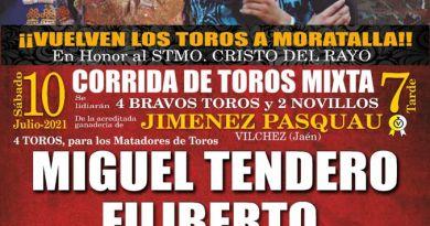 Chipé Producciones organiza una corrida de toros mixta en Moratalla el sábado 10 de julio