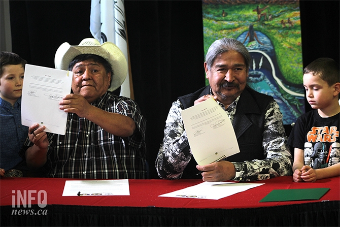 Acting Chief Terry Deneault (left) and Chief Fred Seymour (right) answered questions following today's press conference announcing the local First Nations' opposition to the proposed Ajax Mine.