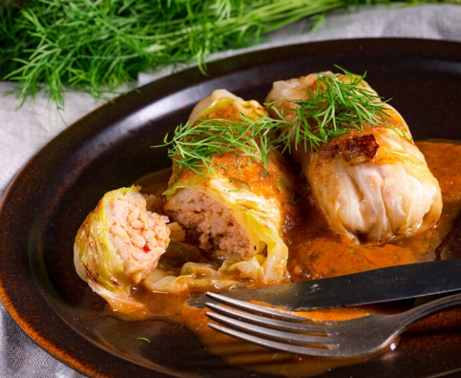 Cabbage rolls from Papa Nick's Global Cuisine, Vernon.