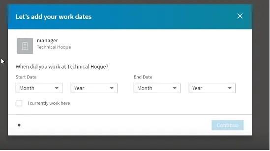 LinkedIn additional work details