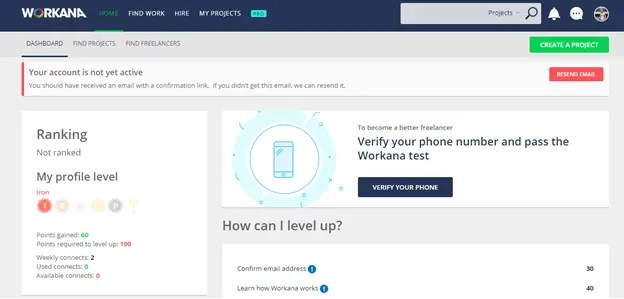 Workana verify your email and your phone number. best freelancing site