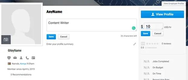 freelancer.com view profile