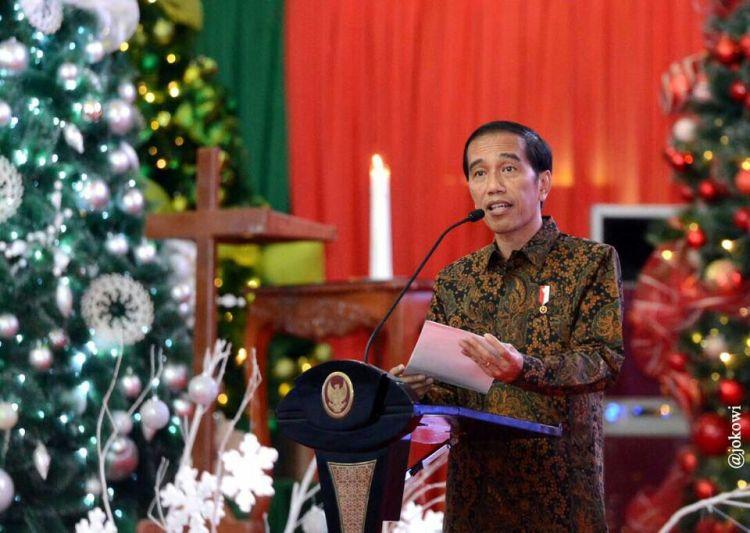 Presiden RI Joko Widodo saat menghadiri Natal