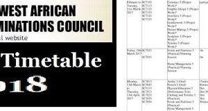 WAEC Timetable 2018