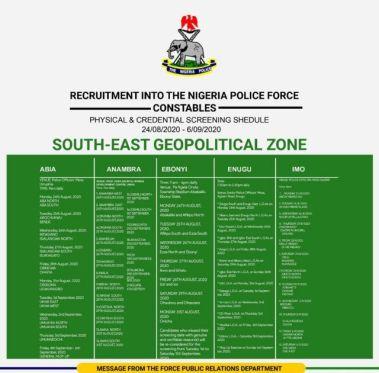 Nigerian Police Screening Timetable 2020