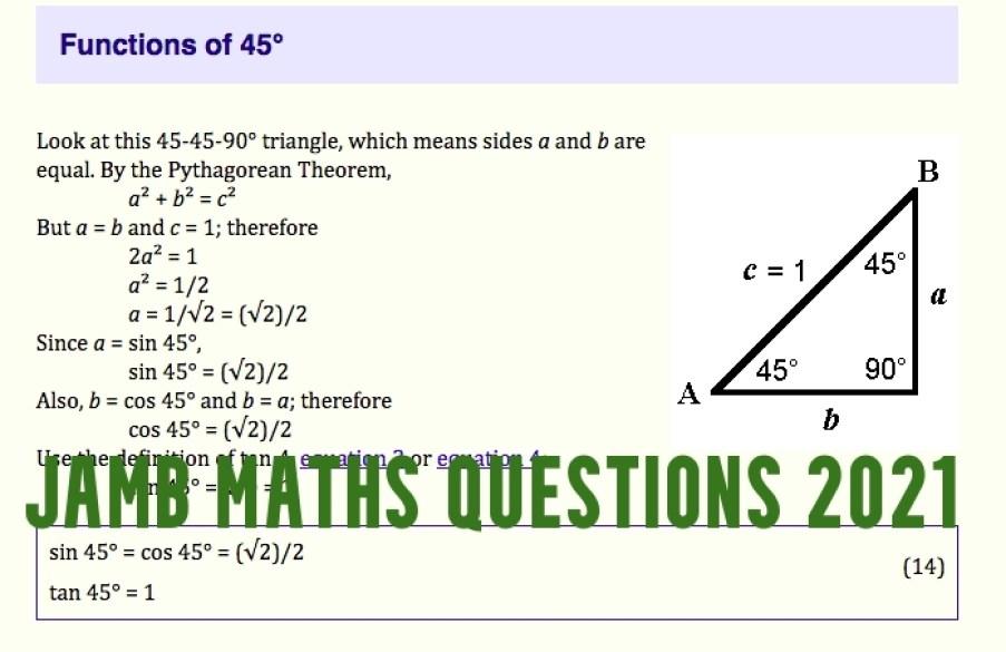 JAMB Maths Questions 2021