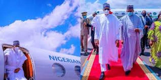 President Buhari Arrives Mali On Peace Mission Wearing Face Mask ...