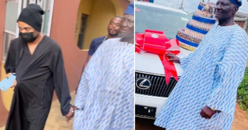 Bobrisky dresses like a man to surprise his father with new Lexus SUV on his birthday (Video)