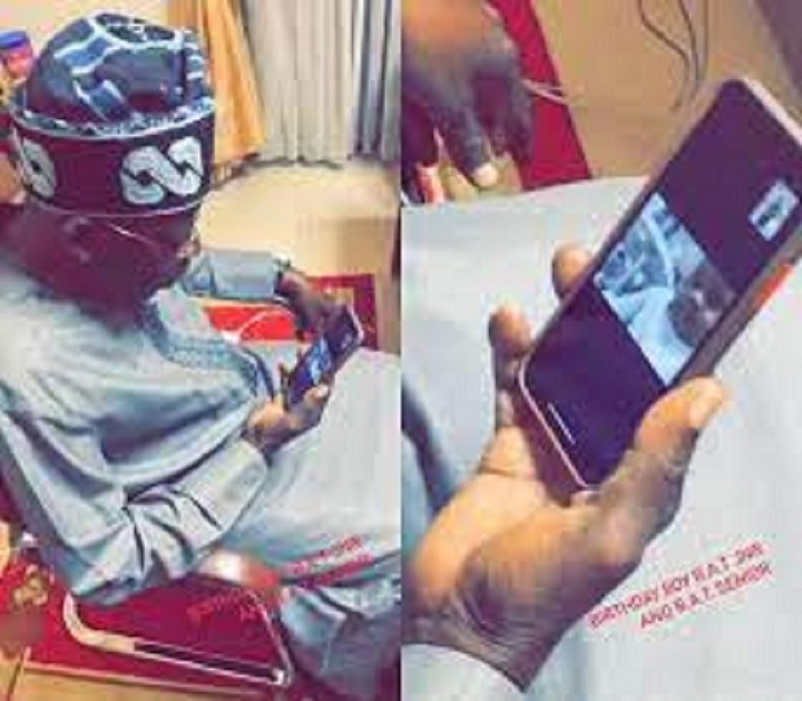 Lovely video of Bola Ahmed Tinubu seen admiring his grand son
