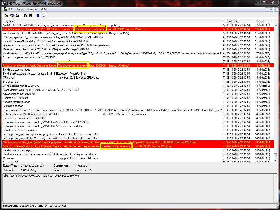 Kb Sccm Error The Directory Is Not Empty