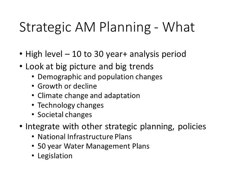 Strategic Asset Management Planning - What