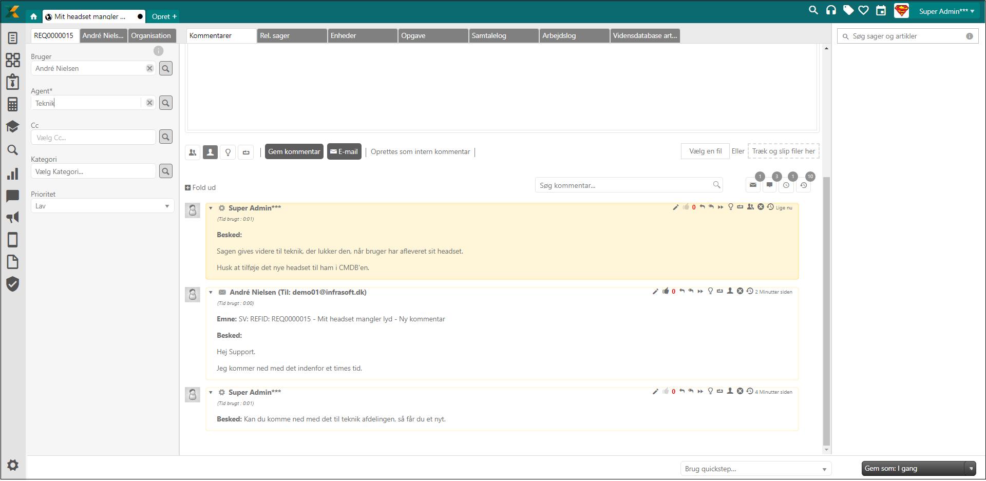Sagsstyring dialogtråd screenshot forretningssystem