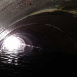 Liner filled with water during construction