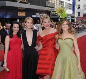 LONDON - MAY 12: (L-R) Kristin Davis, Cynthia Nixon, Kim Catrall and Sarah Jessica Parker attend the World Premiere of 'Sex And The City' held at the Odeon Leicester Square on May 12, 2008 in London, England. (Photo by Gareth Cattermole/Getty Images)