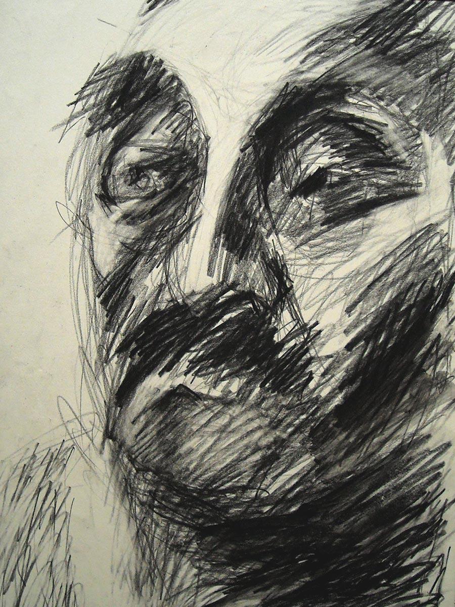 Mann mit Schnurbart II,Kohlezeichnung, 1994., 30x20 cm