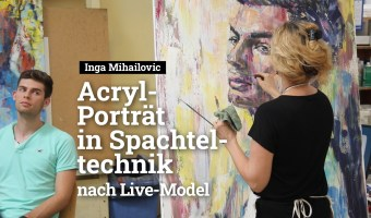Inga Mihailovic Live-Video Acryl-Portrait in Spachteltechnik 2019