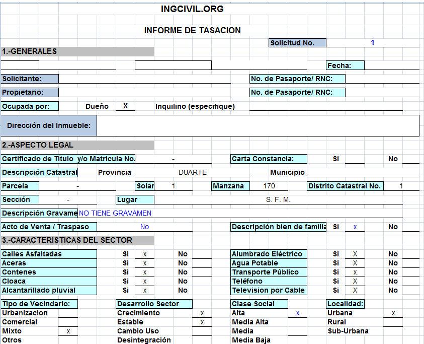 Plantilla Excel - Informe de Tasación