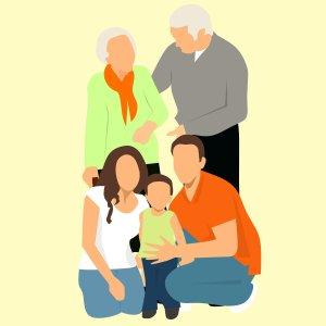 familie met grootouders