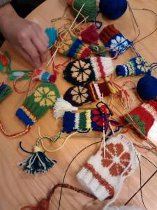 A sampling of the mittens knit during Laura Rickett's class.
