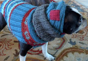 Knitter Anessa Andersland personalized the colorway on Paul's pattern for Emmit's sweater and added a balaclava.