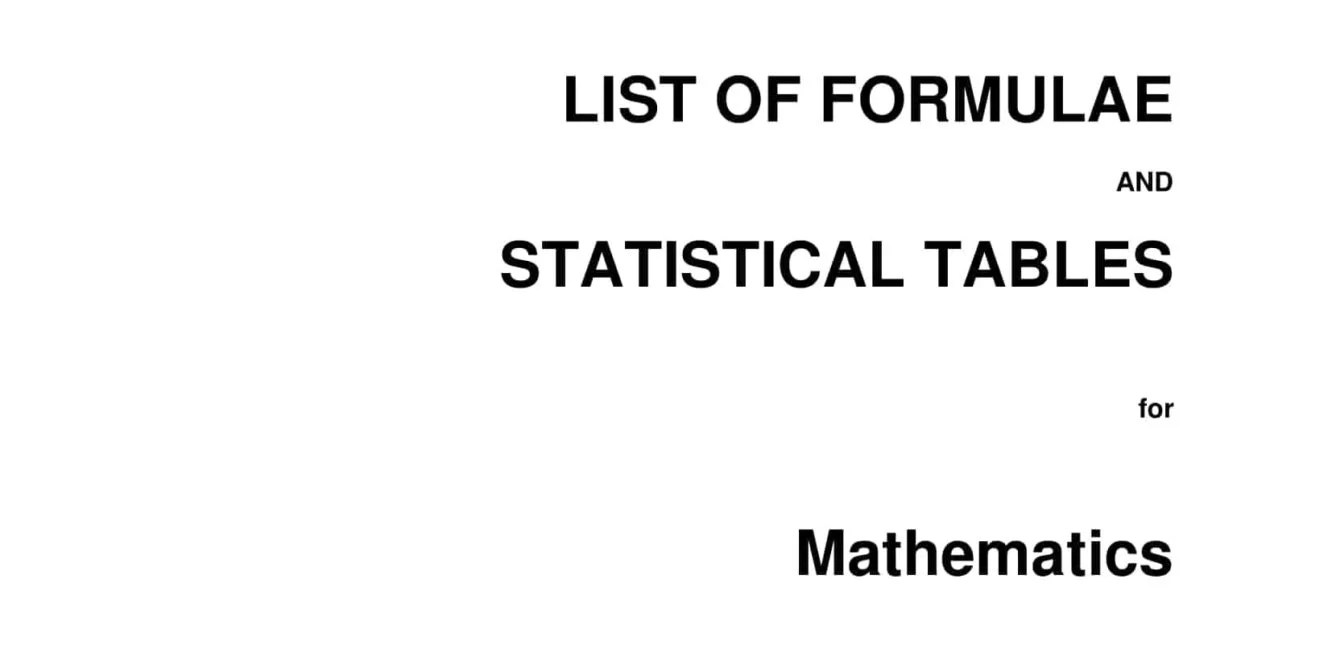 A Level MF15 2020 Math Formula Sheet and List