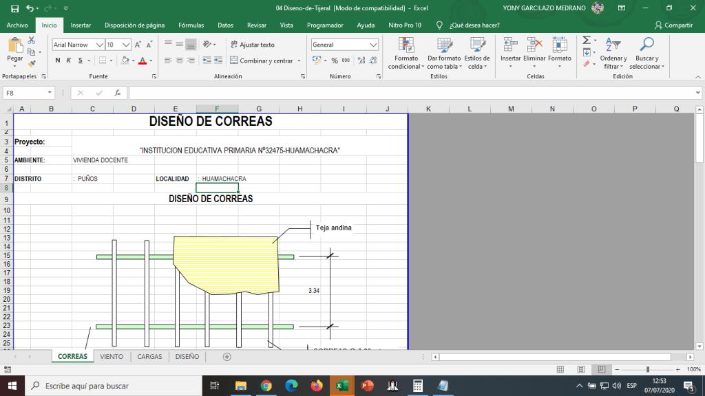 Plantilla en Excel (HOJA DE CALCULO) PARA DISEÑO DE TIJERALES