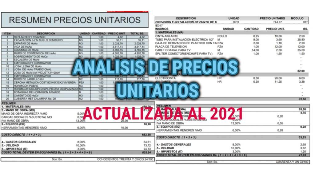 precios unitarios