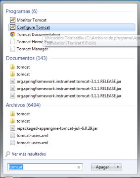Inicio/Configure Tomcat