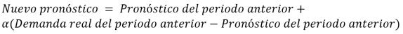 Fórmula de suavizamiento exponencial simple