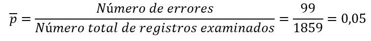 Cálculo de p promedio - Gráfico de control