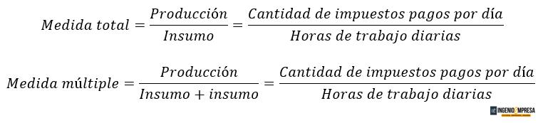formulas para medición de productividad