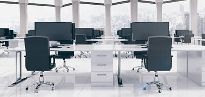 modern office with two computer desks