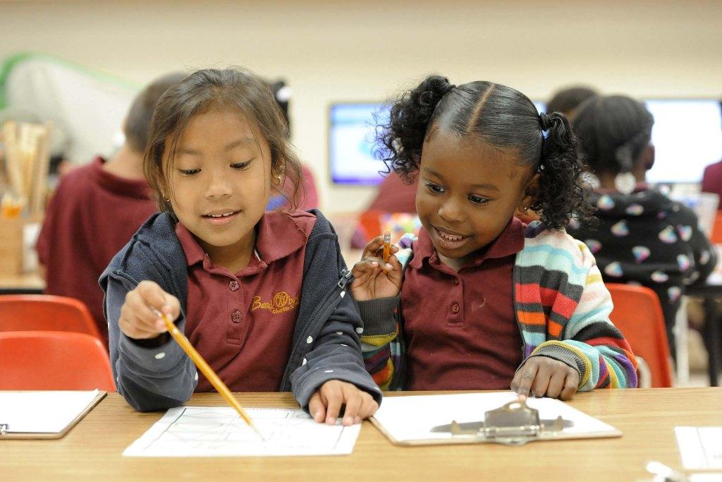 Children at BOCS working on a worksheet