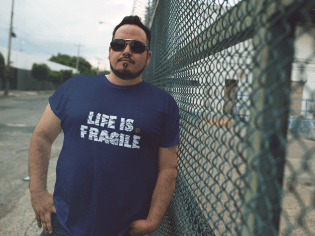 Life is Fragile - white -Male
