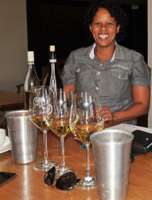 Wine server at Mulderbosch Winery