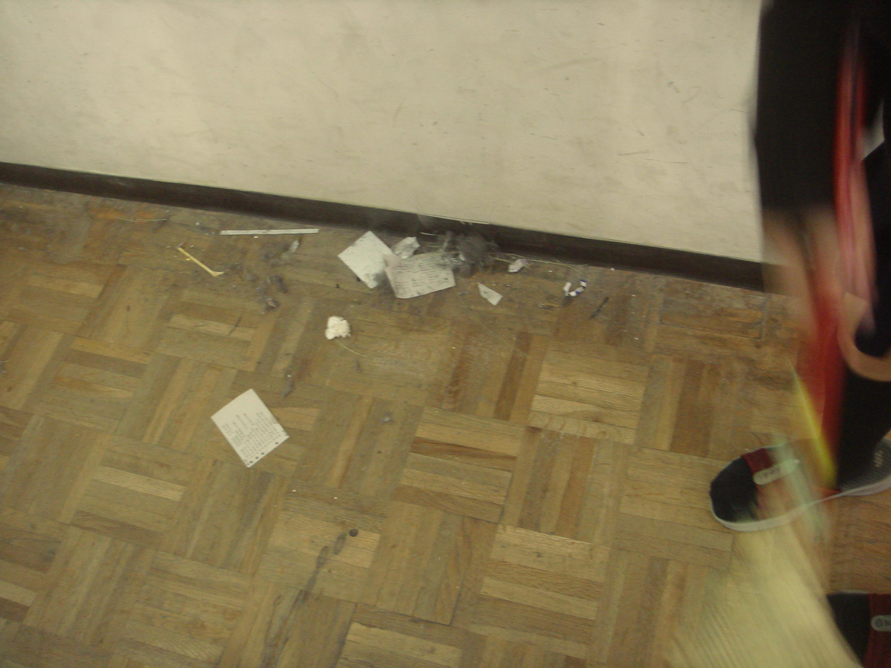 qualche foglio caduto durante lo spostamento dei banchi, polvere e niente più!