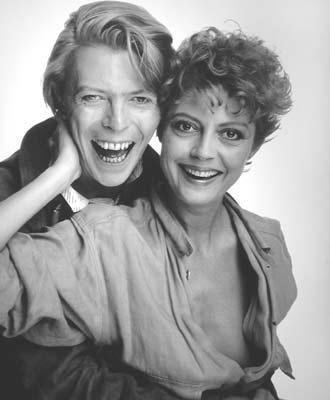 Susan Sarandon David Bowie siyah-beyaz fotoğraf eski David Bailey fotoğrafçı İngiliz ünlü ünlüler müzisyen şarkıcı sanatçı sinema film yıldız aktris oyuncu