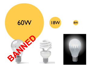A comparison of incandescent, CFL and LED light bulbs.