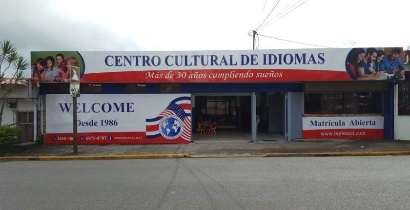Frente de la Academia Centro Cultural de Idiomas Ciudad Quesada