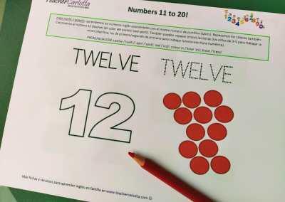 Números del 11 al 20: cuenta, colorea y repasa