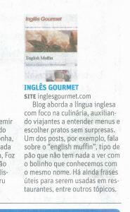 Inglês Gourmet no Blog Recortes de Viagem da Zero Hora e no Caderno de Turismo da Folha de S. Paulo