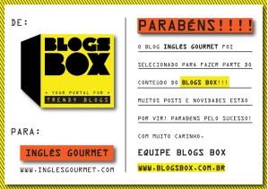 Inglês Gourmet no Blogs Box