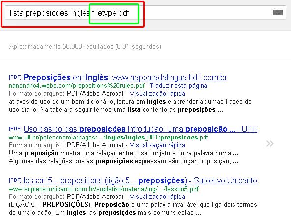 pesquisa por tipo de arquivo no Google
