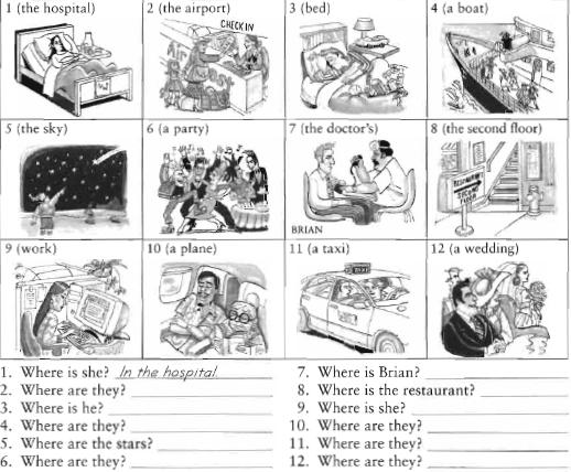 Prepositions of place on in at, Preposiciones de lugar en