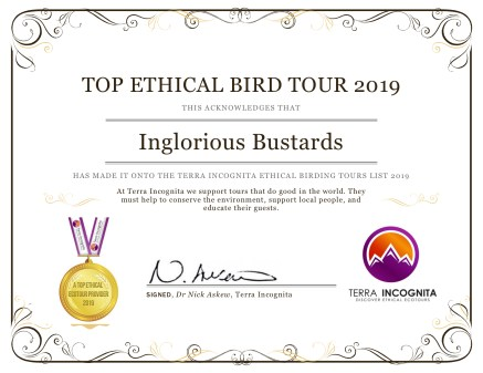 Top-Ethical-Birding-Tour-2019-Certifcates-Inglorious-Bustards